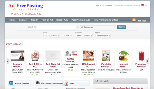 picture of addfreeposting.com homepage