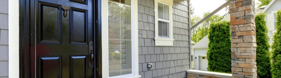 picture of grey front door of house