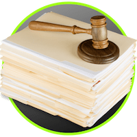 picture of a stack of files and a gavel